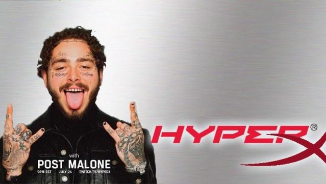 HyperX anuncia evento para gamers com estreia do rapper Post Malone