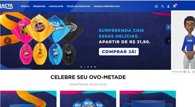 Lactainova no e-commerce de Páscoa com intérprete de Libras