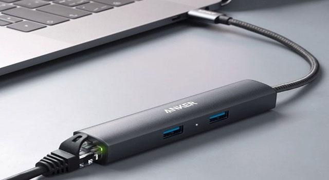 Ankerlança cabo adaptador 5 em 1 com portas USB, Ethernet e HDMI