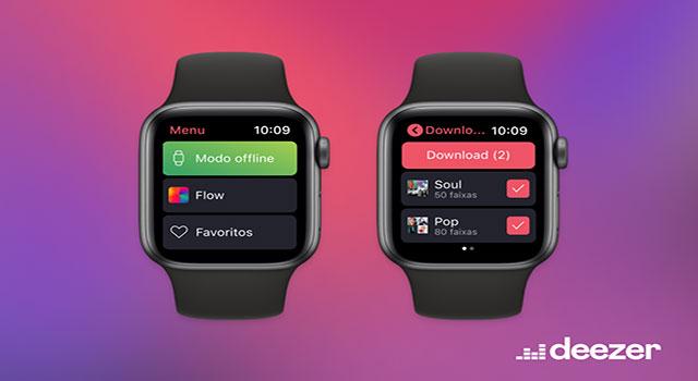 Novo app daDeezerpara Apple Watch