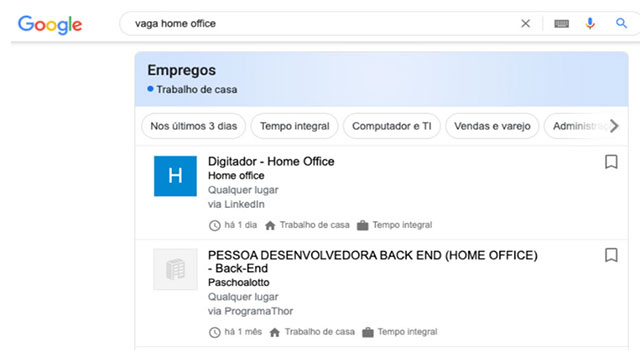 Read more about the article Busca do Google lança recurso para vagas de home office